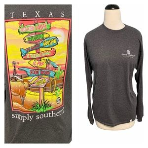 Simply Southern Texas State T-shirt Dark Gray XL